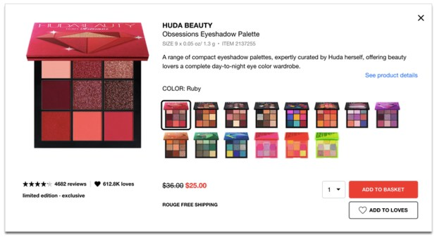Sephora Canada Hot Sweet Sale 30 Off ALL Huda Beauty Obsessions Eyeshadow Palettes 2020 Canadian Deals - Glossense