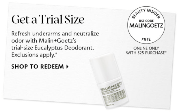 Sephora Canada Promo Code Free Malin and Goetz Eucalyptus Deodorant Deluxe Mini Sample Purchase - Glossense