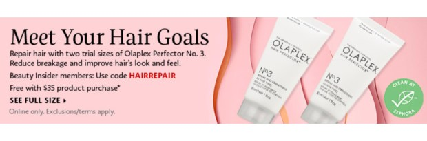 Sephora Canada Promo Code Free Olaplex 2-pc Hair Perfector No 3 Deluxe Mini Sample Set with Purchase - Glossense