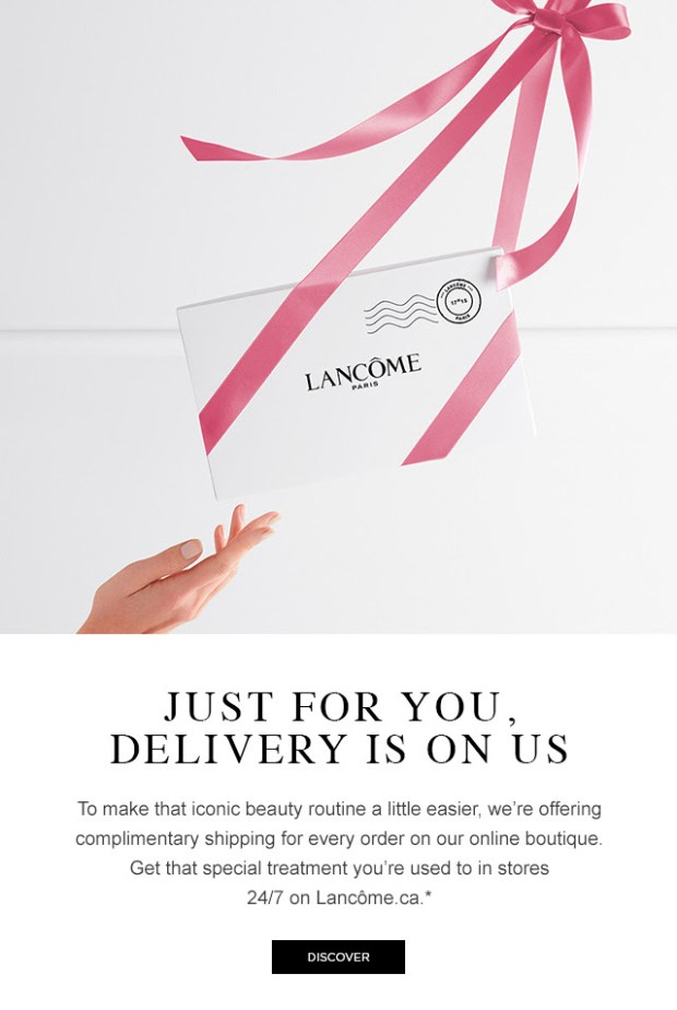 Lancome Canada Free Shipping Any Online Order Canadian Deals in Response to Coronavirus COVID 19 - Glossense