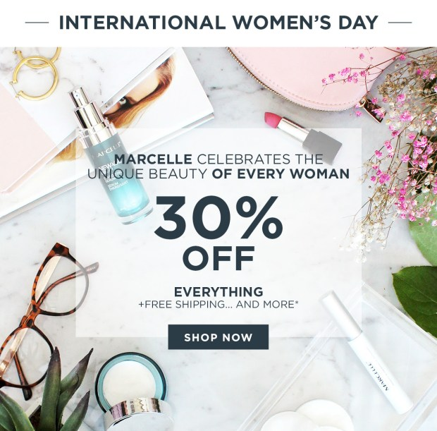 Marcelle Canada 2020 International Women's Day Sale 30 Off Everything Free Shipping Free Gifts Purchase Canadian Deals GWP Offer - Glossense