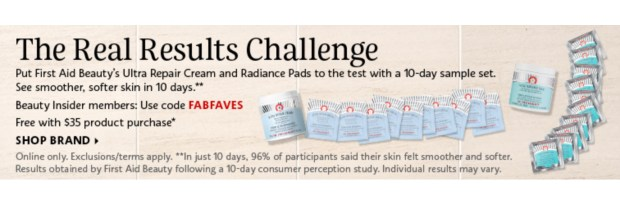 Sephora Canada Promo Code Take The Real Results Challenge Free First Aid Beauty Ultra Repair Cream Radiance Pads Sample Set - Glossense