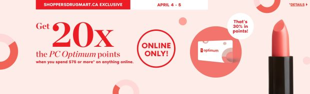 Shoppers Drug Mart Canada SDM Canadian Beauty Boutique PC Optimum Offer Bonus Beauty Get Rewarded Free PC Points April 4 5 2020 - Glossense