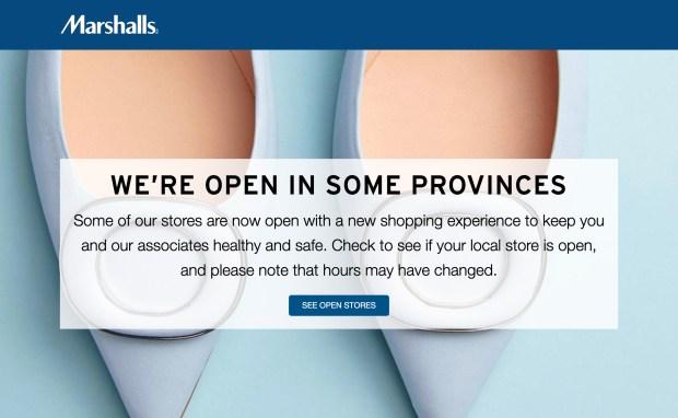 Marshalls Canada Stores Open Re-Opening Dates Update in Response to Coronavirus COVID-19 - Glossense