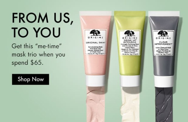Origins Canada Free Me-Time Mask Trio Purchase Canadian Deals GWP Offer - Glossense