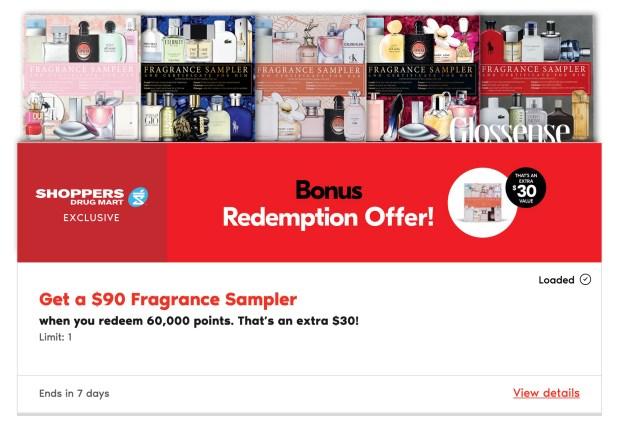 Shoppers Drug Mart Canada Get a 90 Fragrance Sampler for Only 60000 PC Optimum Points In-store Canadian Deals Bonus Redemption Offer - Glossense