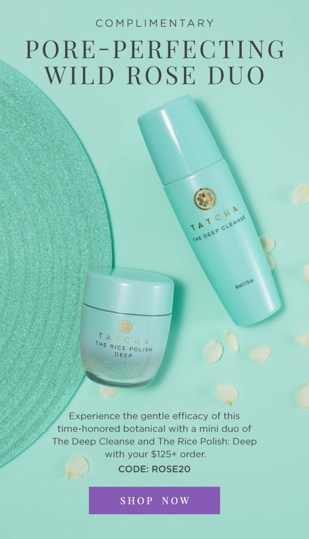 Tatcha Canada Free Pore-Perfecting Wild Rose Duo Purchase Canadian Deals Promo Code - Glossense