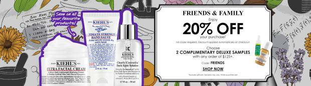 Kiehl's Canada Friends Family Sale Event Save 20 Off Free Shipping Free Deluxe Freebies 2020 Canadian Deals Promo Code - Glossense