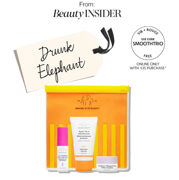 Sephora Canada Promo Code VIB Rouge June 2020 Gift Free Drunk Elephant 3-pc Skincare Set Canadian GWP Beauty Offers - Glossense