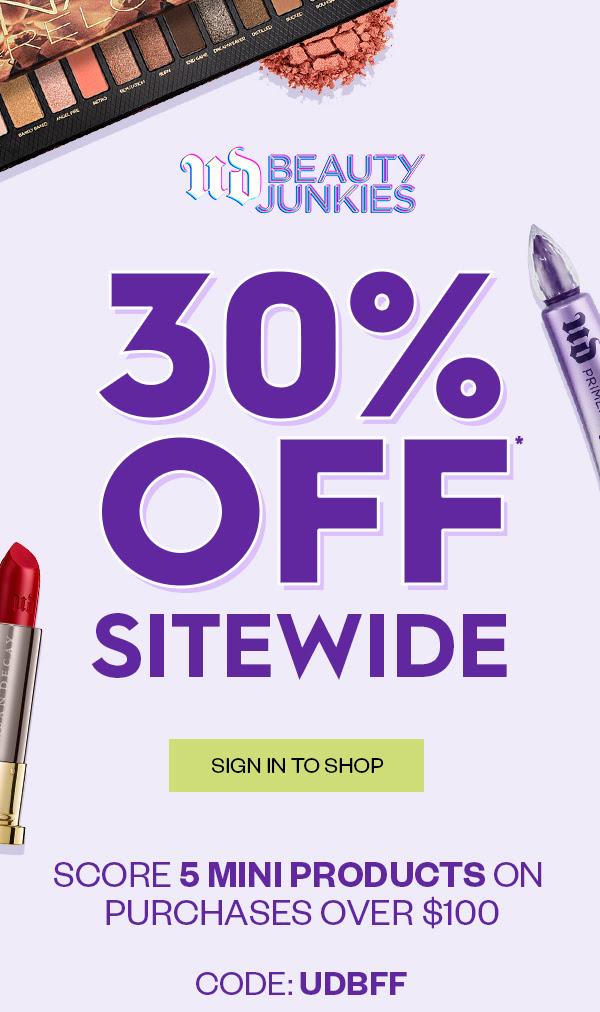 Urban Decay Cosmetics Canada Friends Fanatics Event Save 30 Off Sitewide Free 5-pc Gift with Purchase 2020 Canadian Summer Deals GWP Promo Code - Glossense