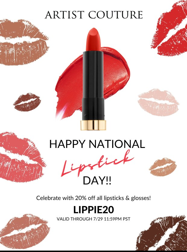 Artist Couture Canada National Lipstick Day Sale 20 Off All Lipsticks Glosses Canadian Deals Promo Code - Glossense