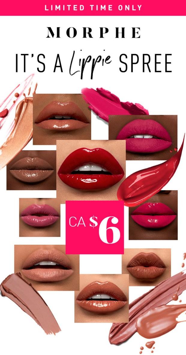 Morphe Canada 6 Lippies Lipstick Lip Gloss More National Lipstick Day 2020 Canadian Deals Sale - Glossense