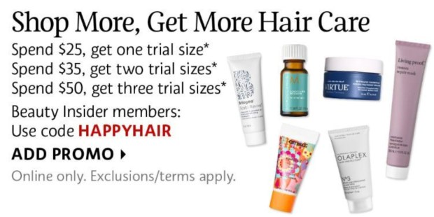 Sephora Canada Promo Code Add 1-3 Haircare Minis to your Order Canadian GWP Shop More Get More Hair Care Sample Beauty Offer July 2020 - Glossense