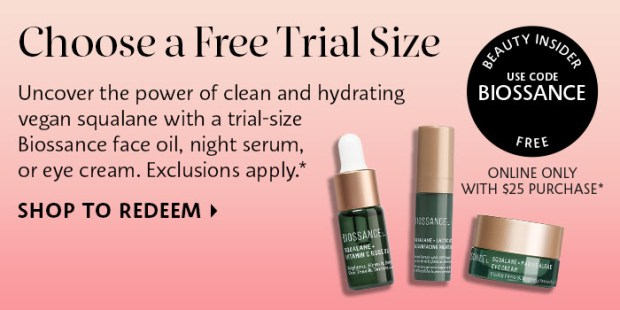 Sephora Canada Promo Code Choose 1 of 3 Free Biossance Skincare Deluxe Mini Samples w/ Purchase Canadian Beauty Offer - Glossense