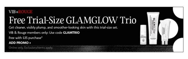 Sephora Canada Promo Code VIB Rouge July 2020 Gift Free GlamGlow Skincare Set Canadian GWP Beauty Offers - Glossense