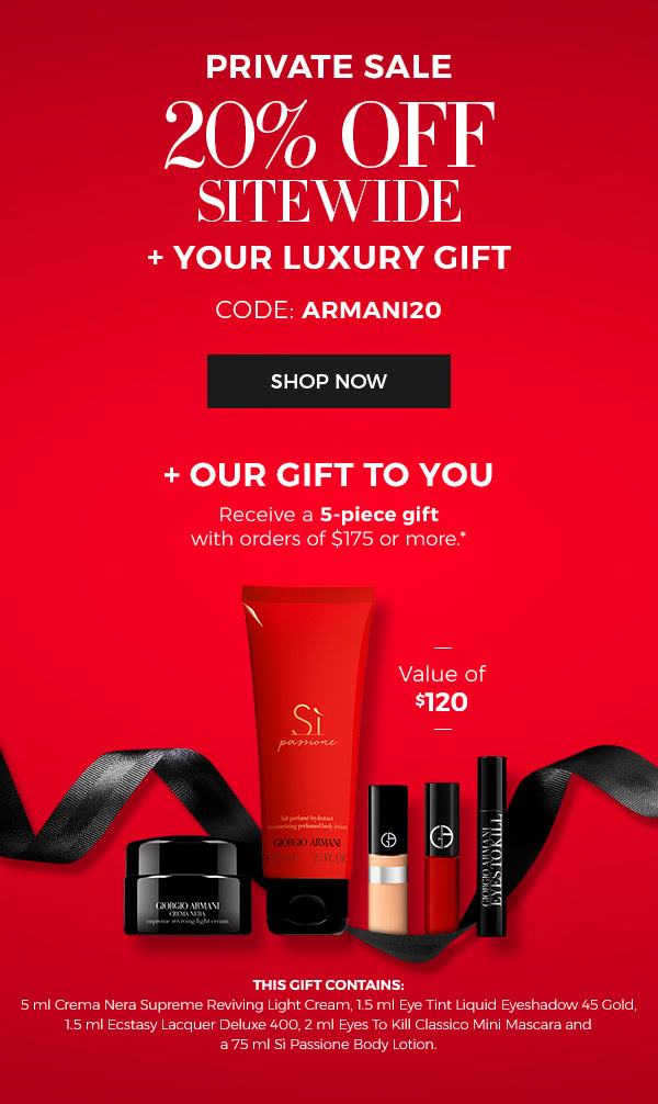 Giorgio Armani Beauty Canada Private Sale 20 Off Free Luxury Gift 2020 Canadian Deals Promo Code GWP Offer - Glossense