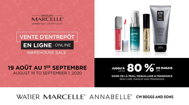Groupe Marcelle Canada Online Warehouse Sale Coming Soon Up to 80 Off Marcelle Lise Watier Annabelle CW Beggs and Sons Summer 2020 Canadian Deals - Glossense