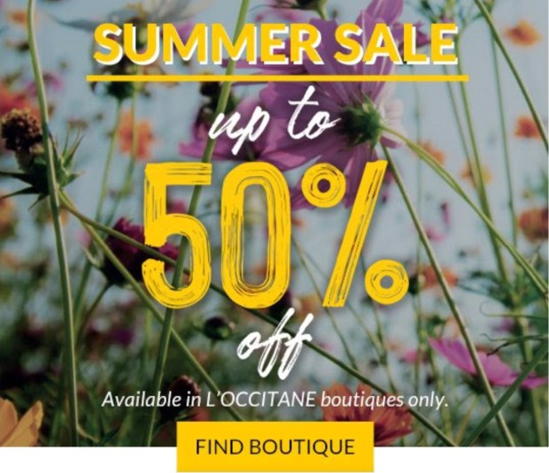 L'Occitane Canada Summer Sale Up to 50 Off In-Store 2020 Canadian Deals Sales - Glossense