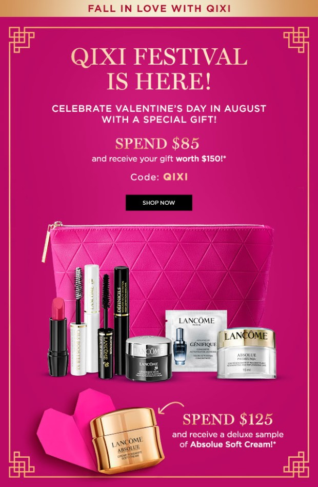 Lancome Canada Free Qixi Festival Gifts Chinese Valentine's Day August 2020 Canadian Deals - Glossense