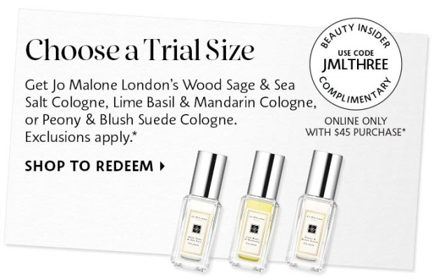 Sephora Canada Promo Code Choose 1 of 3 Free Jo Malone London Cologne Trial-Size Fragrance Minis - Glossense