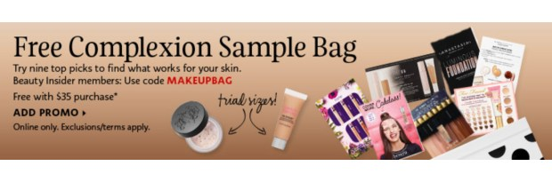 Sephora Canada Promo Code Free August Foundation Complexion Sample Bag BeautyBlender Primer KVD Setting Powder Deluxe Minis - Glossense