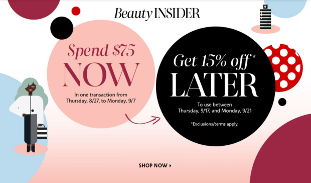 Sephora Canada Shop Now Save 15 Off Later 2020 Canadian Beauty Insider Deals August - Labour Day 2020 - Glossense