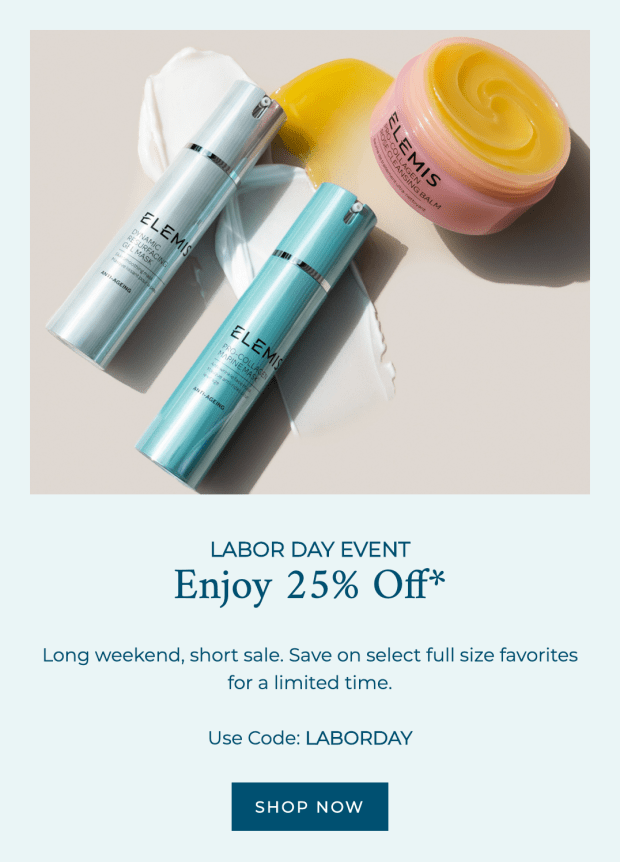 Elemis Canada Labour Day Event 25 Off Select Full Size Favs HOT 30 USD Free Bonus 2020 Canadian Deals Promo Code - Glossense