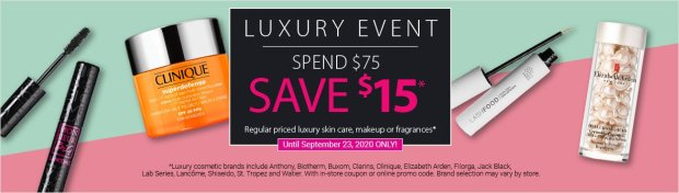 London Drugs Canada Luxury Beauty Event Save 15 Off Any 75 Skincare Makeup or Fragrance Purchase 2020 Canadian Deals Coupon Code - Glossense