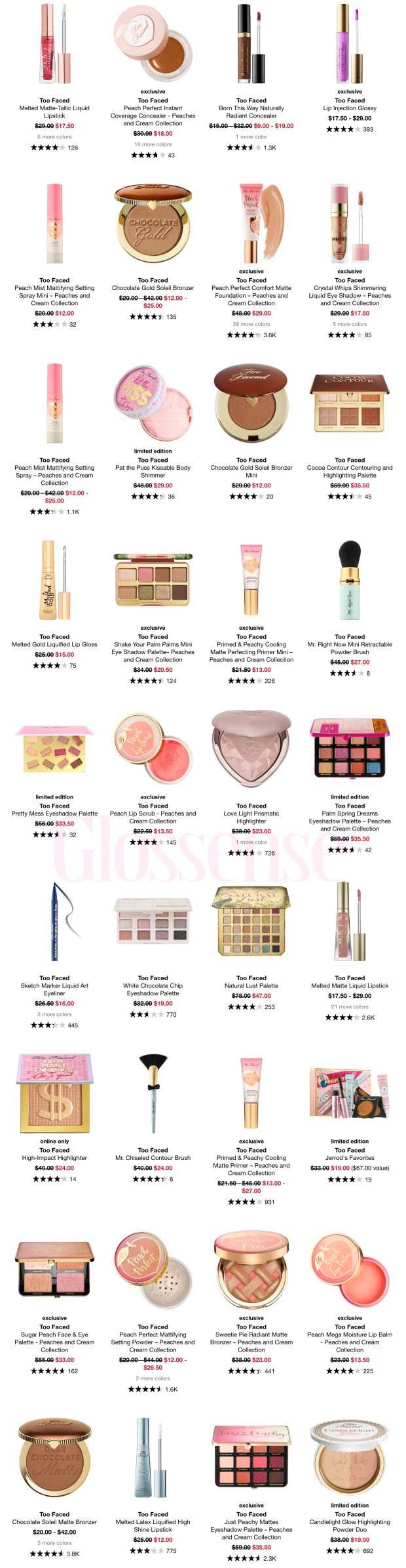 Sephora Canada Hot Sale Labour Day 2020 Save on Too Faced Cosmetics Makeup Canadian Deals - Glossense