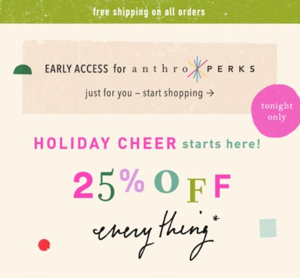 Anthropologie Canada Early Access to Holidays Sale Free Shipping Any Order Fall 2020 Canadian Deals Cheer - Glossense