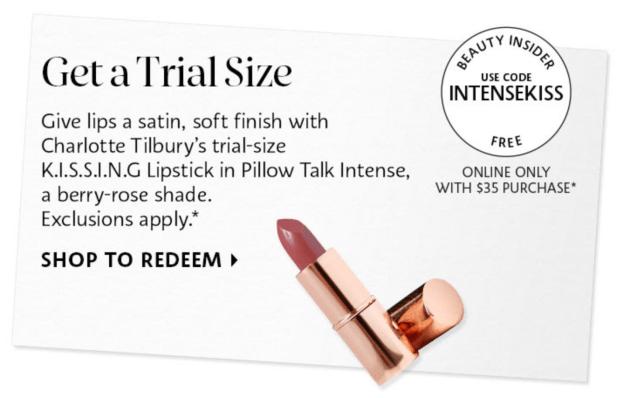 Sephora Canada Free Charlotte Tilbury Pillow Talk Intense Lipstick Sample - Glossense