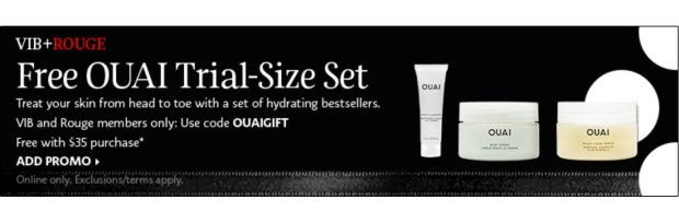 Sephora Canada Promo Code VIB Rouge October 2020 Gift Free Ouai 3-pc Body Care Sample Set 35 Purchase Canadian GWP Beauty Offers - Glossense