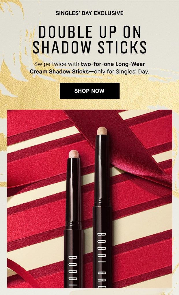 Bobbi Brown Cosmetics Canada Singles Day Daily Deal 1 BOGO Shadow Sticks - Glossense