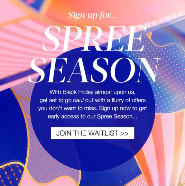 Cult Beauty Canada Sign-up for Spree Season 2020 Black Friday Canadian Beauty Deals Sales Offers - Glossense
