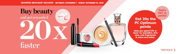 SHOPPERS DRUG MART CANADA Spend 75 Get 20x the PC Optimum Points November 7 - 13 2020 - Glossense