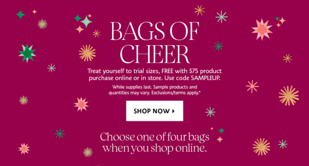 Sephora Canada Choose Your 2020 Free Holiday Bags of Cheer Sample Goody Bag Canadian GWP Offer In-store Online - Glossense