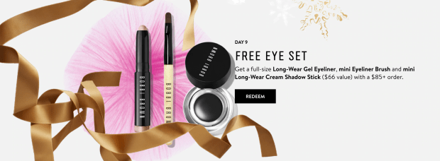 Bobbi Brown Cosmetics Canada 12 Days of Beauty Wishes - Day 9 Free Eye Set 2020 Canadian Deals - Glossense
