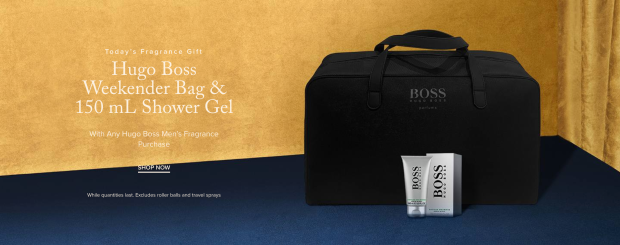 Hudson's Bay Canada Free Fragrance Gift Shop Hugo Boss Weekender Bag Shower Gel - Glossense