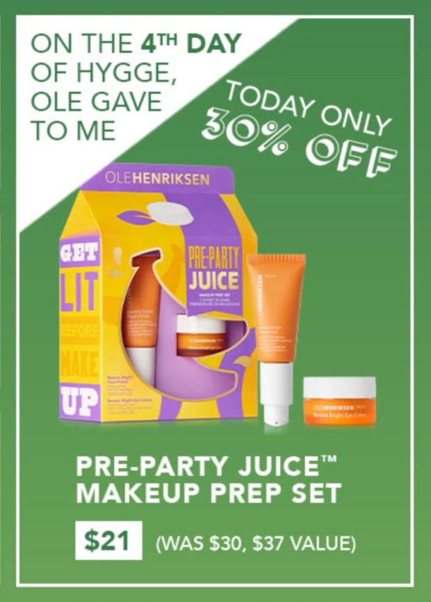 Olehenriksen Canada 7 Days of Hygge - Day 4 Save 30 Off Pre-Party Juice Makeup Prep Set 2020 Canadian Deals Sale - Glossense
