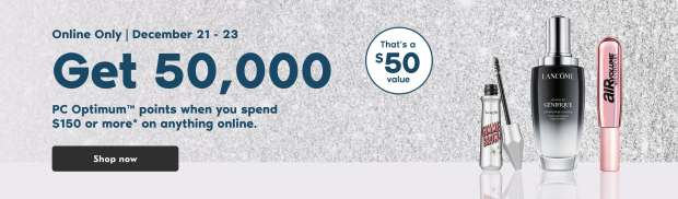 Shoppers Drug Mart Canada Get 50000 PC Optimum Points 150 Purchase December 21 - 23 2020 - Glossense