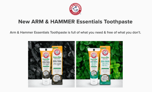 Sampler Canada Free Arm & Hammer Essentials Toothpaste Sample - Glossense