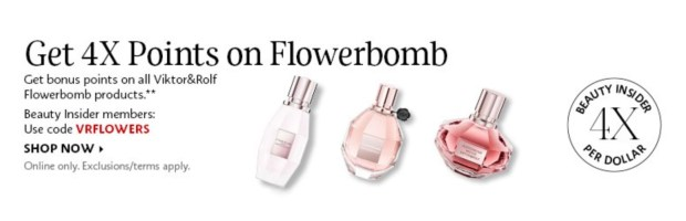 Sephora Canada Promo Code Get 4x Beauty Insider Points WUB Viktor Rolf Flowerbomb Products - Glossense
