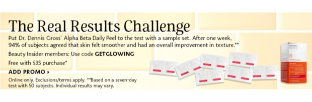 Sephora Canada Promo Code Real Results Challenge Free Dr Dennis Gross Alpha Beta Daily Peels 7-Day Sample Set - Glossense