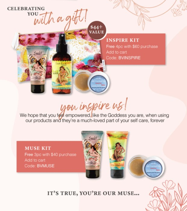 Barefoot Venus Canada Free Muse or Inspire Kit International Women's Day 2021 - Glossense