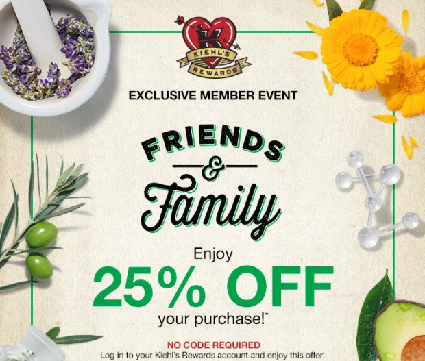 Kiehl's Canada Friends and Family Event Canadian Sale Deals 2021 - Glossense