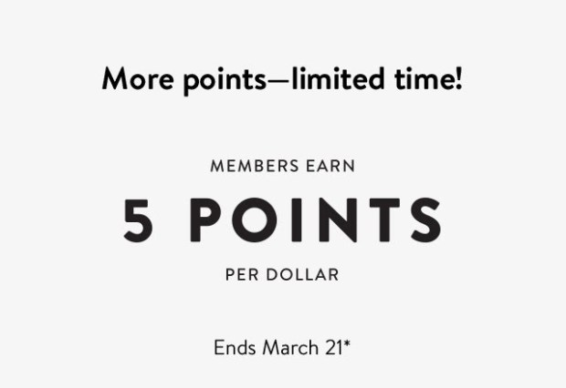 Nordstrom Canada Spring Bonus Points Event March 2021 - Glossense