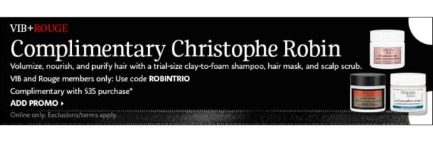 Sephora Canada Free VIB Rouge Gift Free 3-pc Christophe Robin Sample Set March 2021 - Glossense
