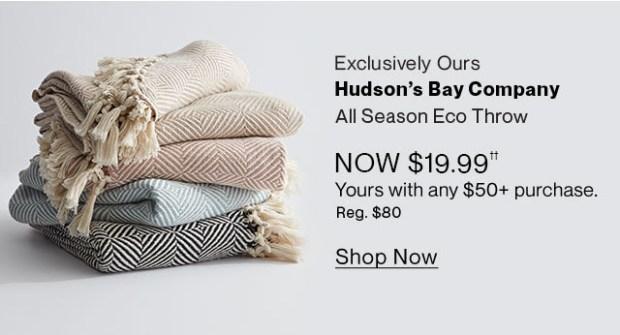 Hudson's Bay Canada All Season Eco Throw Sale with any Purchase - Glossense