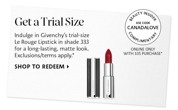 Sephora Canada Promo Code Free Givenchy Lipstick Canada Day 2021 - Glossense