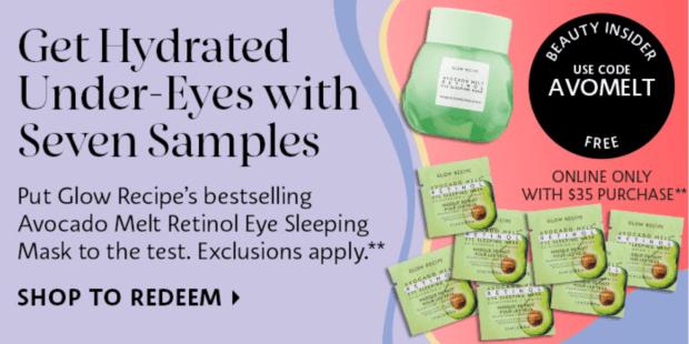 Sephora Canada Promo Code Free Glow Recipe Avocado Melt Retinol Eye Sleeping Mask Sample Set - Glossense
